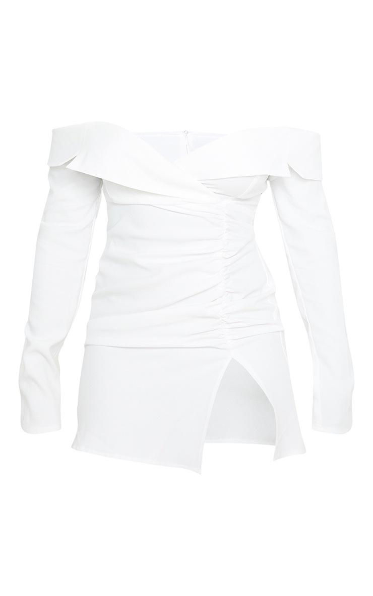 Petite - Robe blazer froncée écrue à col bateau  3