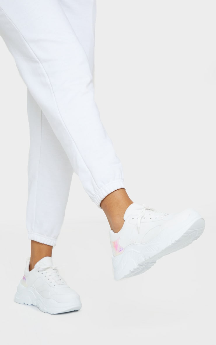 White Chunky Holographic Trim Sneakers 1