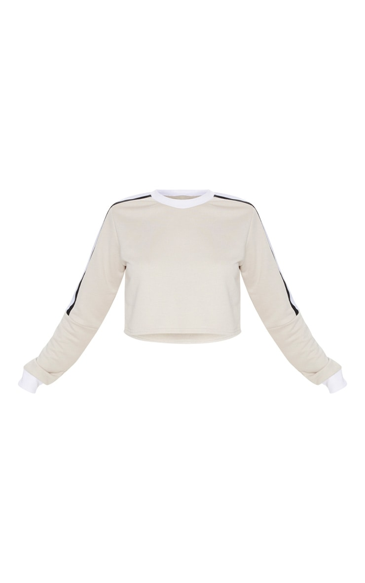 Sand Triple Shoulder Stripe Crop Sweater  3