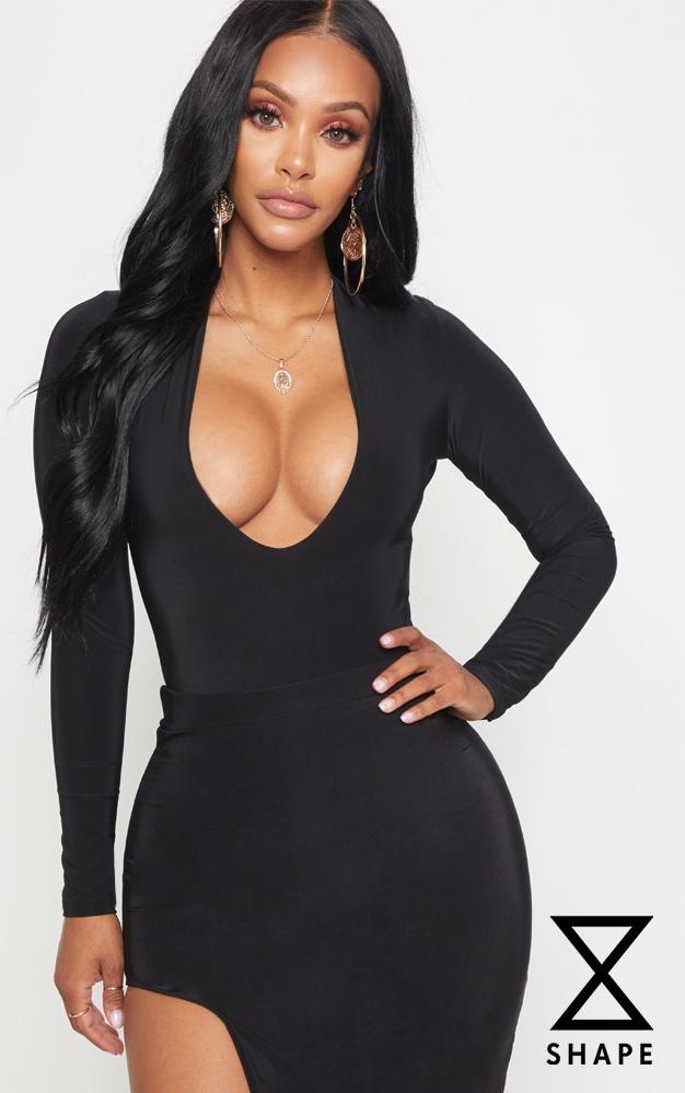 shape-black-slinky-extreme-plunge-bodysuit by prettylittlething
