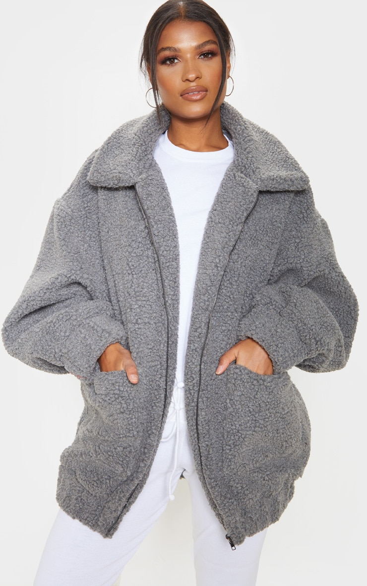 Grey Oversized Borg Pocket Front Coat 1
