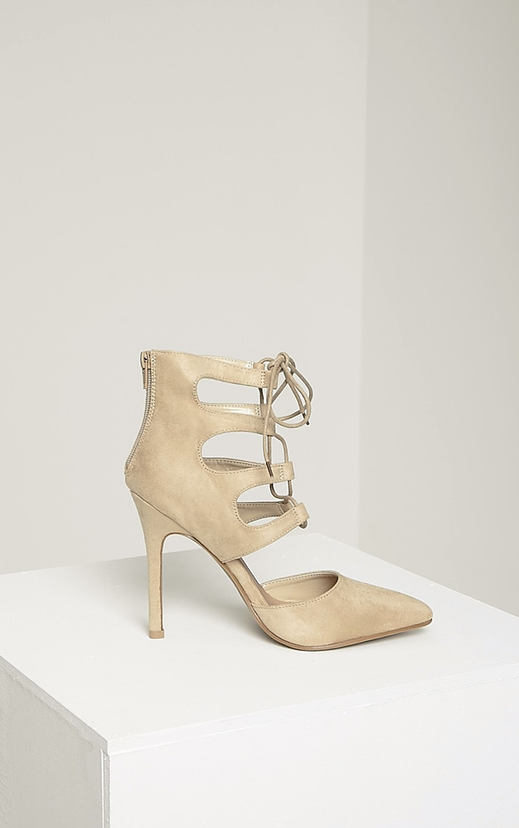 Lydia Cream Faux Suede Lace Up Heeled Sandals 4