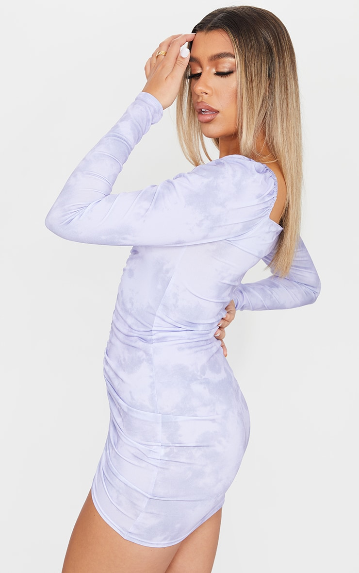 Lilac Tie Dye Ruched Front Long Sleeve Bodycon Dress 2