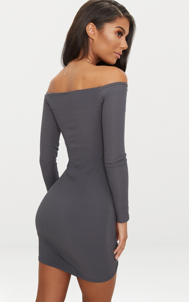 Charcoal Grey Ribbed Long Sleeve Bardot Ruched Bodycon Dress 2