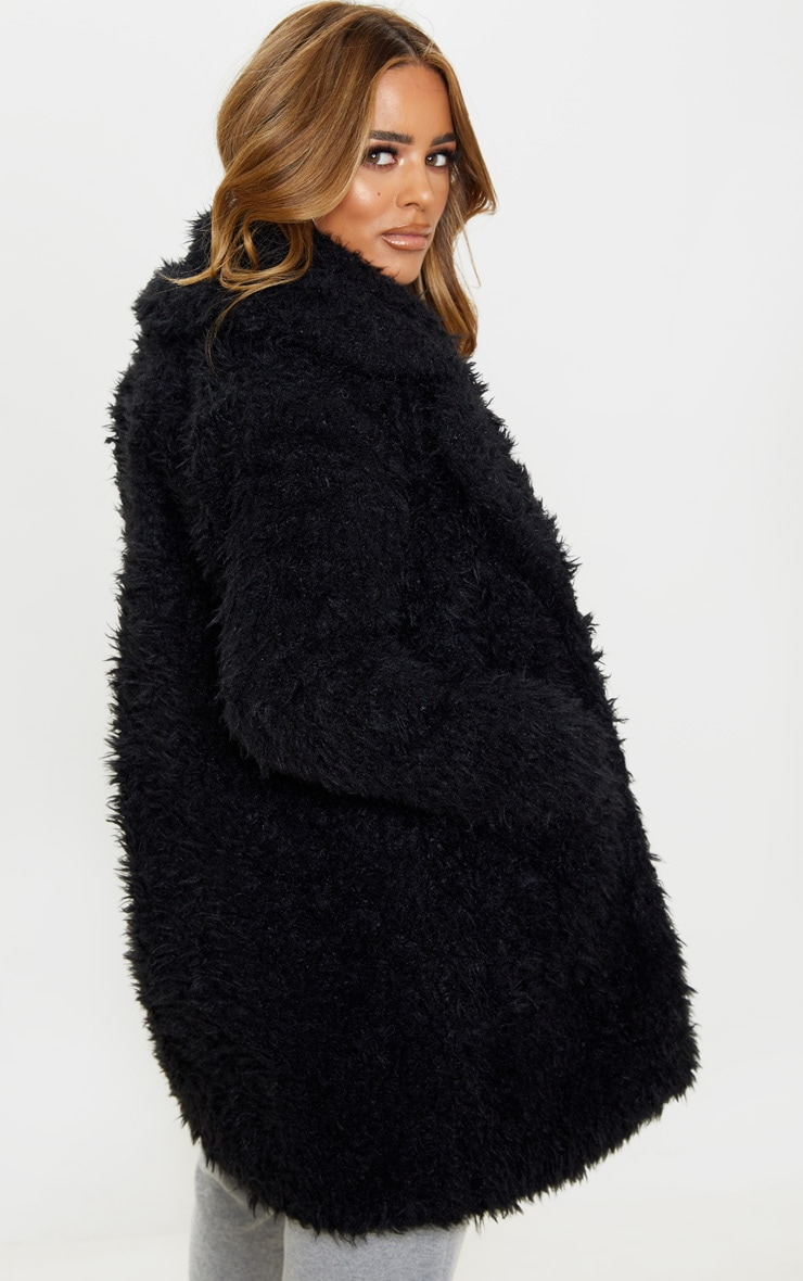Petite Black Teddy Faux Fur Collar Midi Coat  2