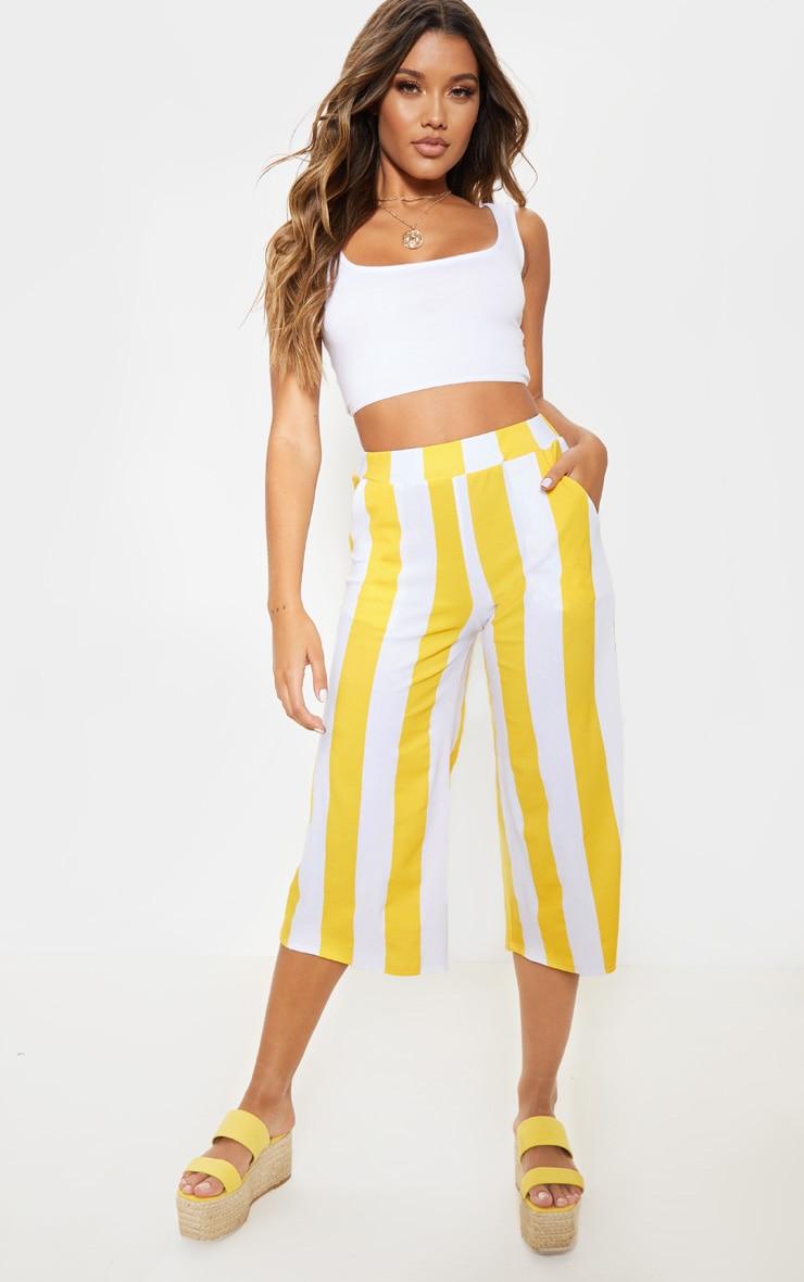 Mustard Stripe Pocket Detail Culottes 5