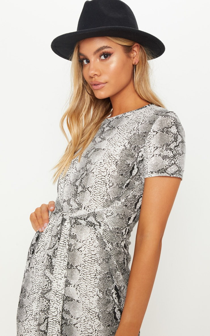 Snake Print Tie Waist Oversized T Shirt Dress 5