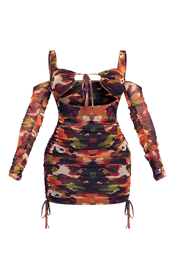 Shape Orange Camo Print Mesh Ruched Tie Front Bodycon Dress 5