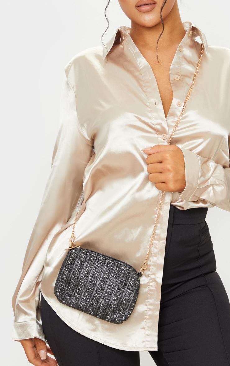 black soft straw square cross body bag