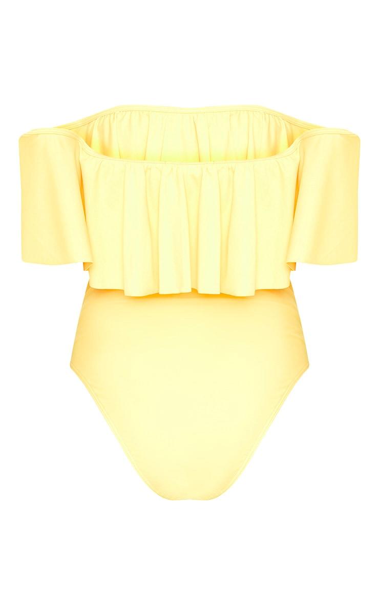 Mia Yellow Bardot Frill Swimsuit 4