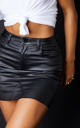 Black Coated Denim Extreme Mini Skirt 5