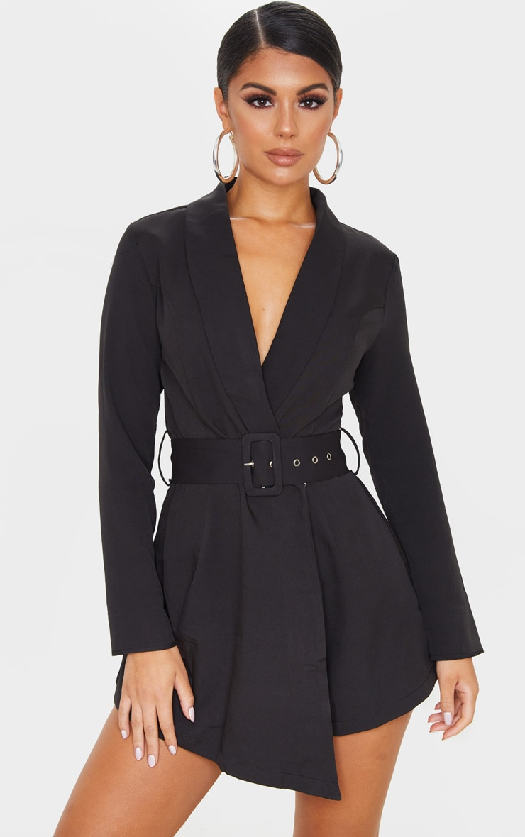 Black Long Sleeve Tailored Belted Playsuit 1