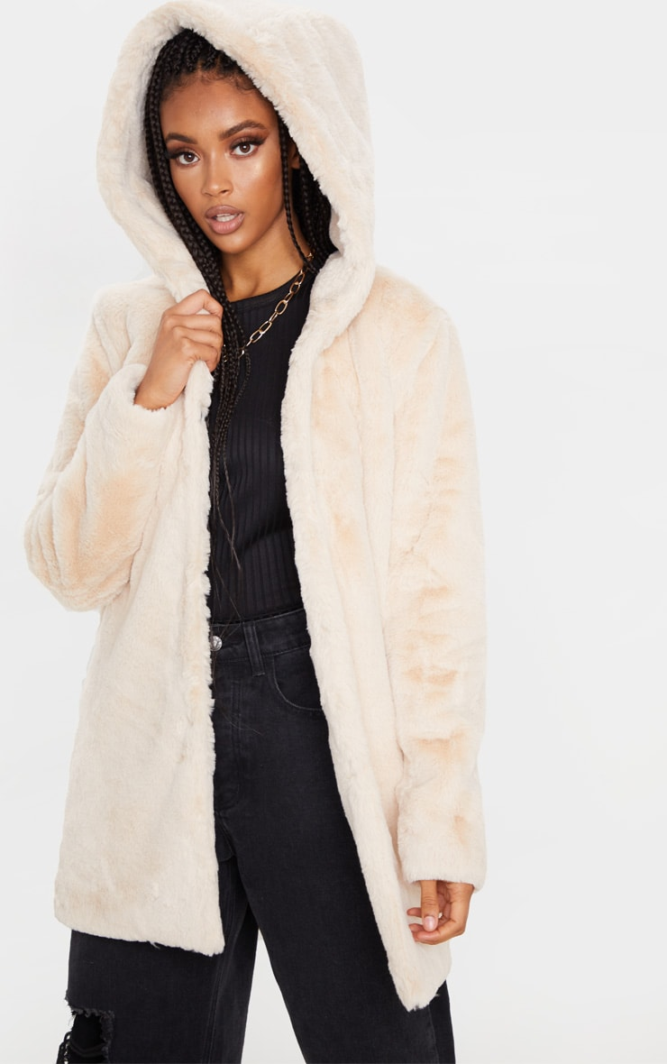 Stone Faux Fur Hooded Coat 1