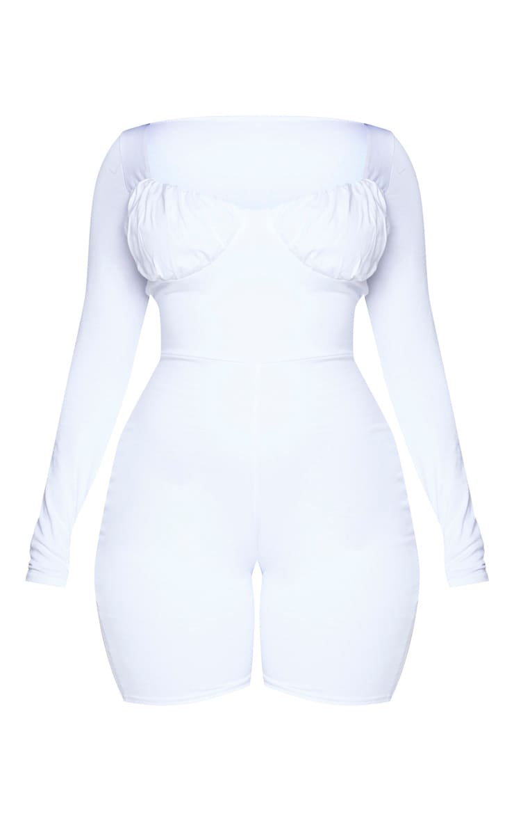 Shape White Cotton Ruched Bust Long Sleeve Unitard 5
