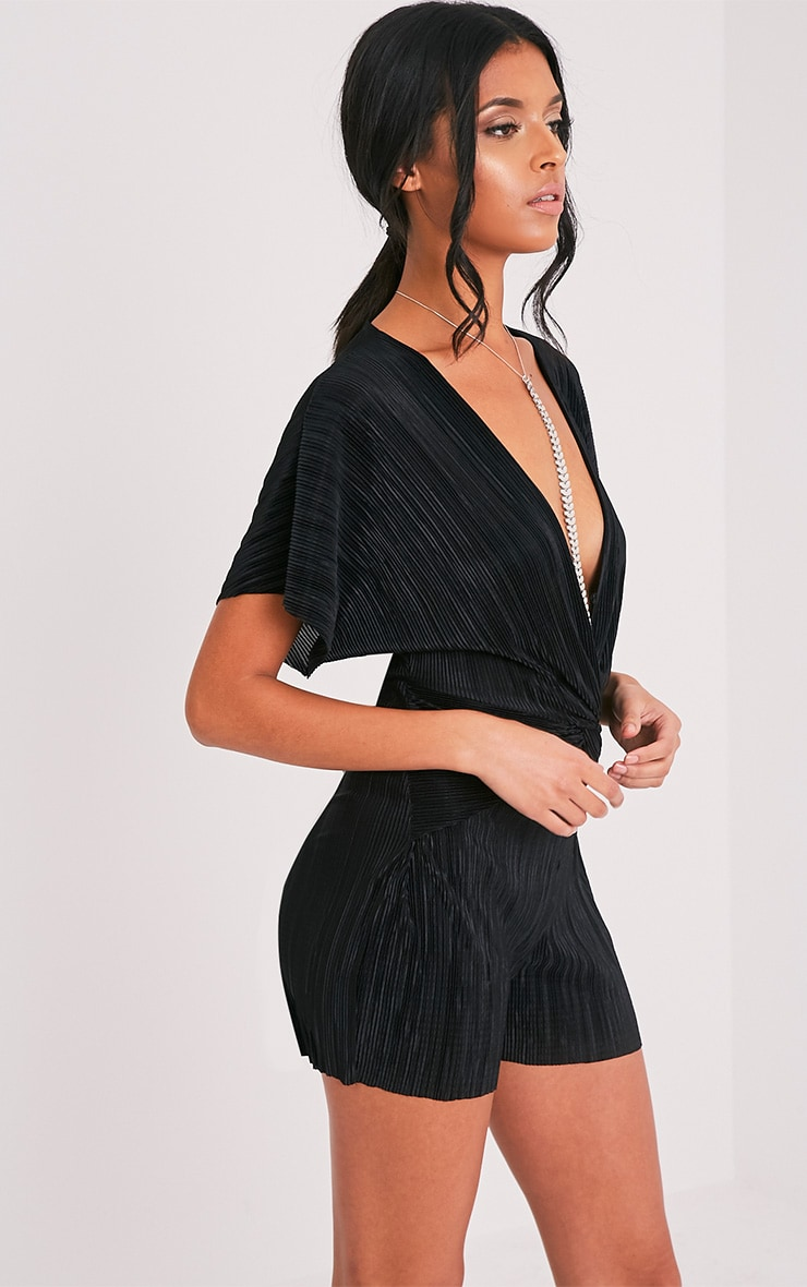 Tilly Black Pleated Knot Front Playsuit  3