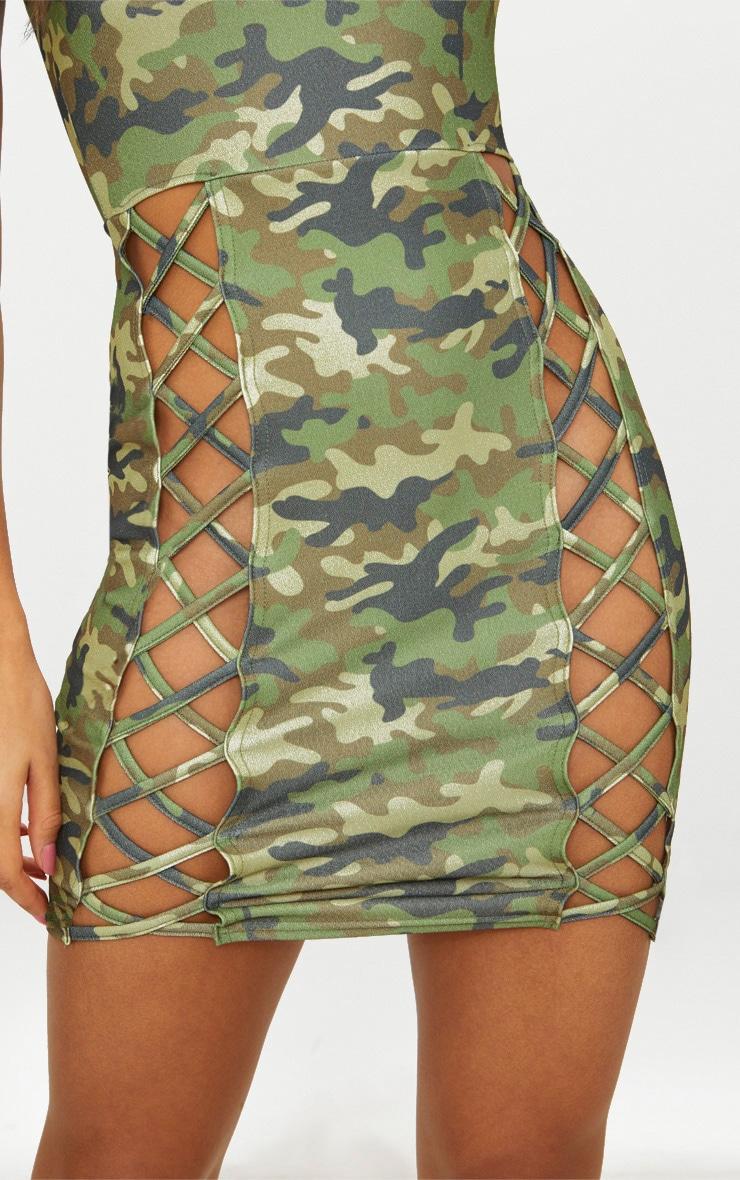 Green Camo Strappy Square Neck Lace Up Thigh Bodycon Dress 5