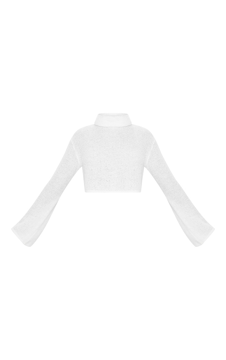 Cream Boucle Crop Knitted Roll Neck Sweater 3