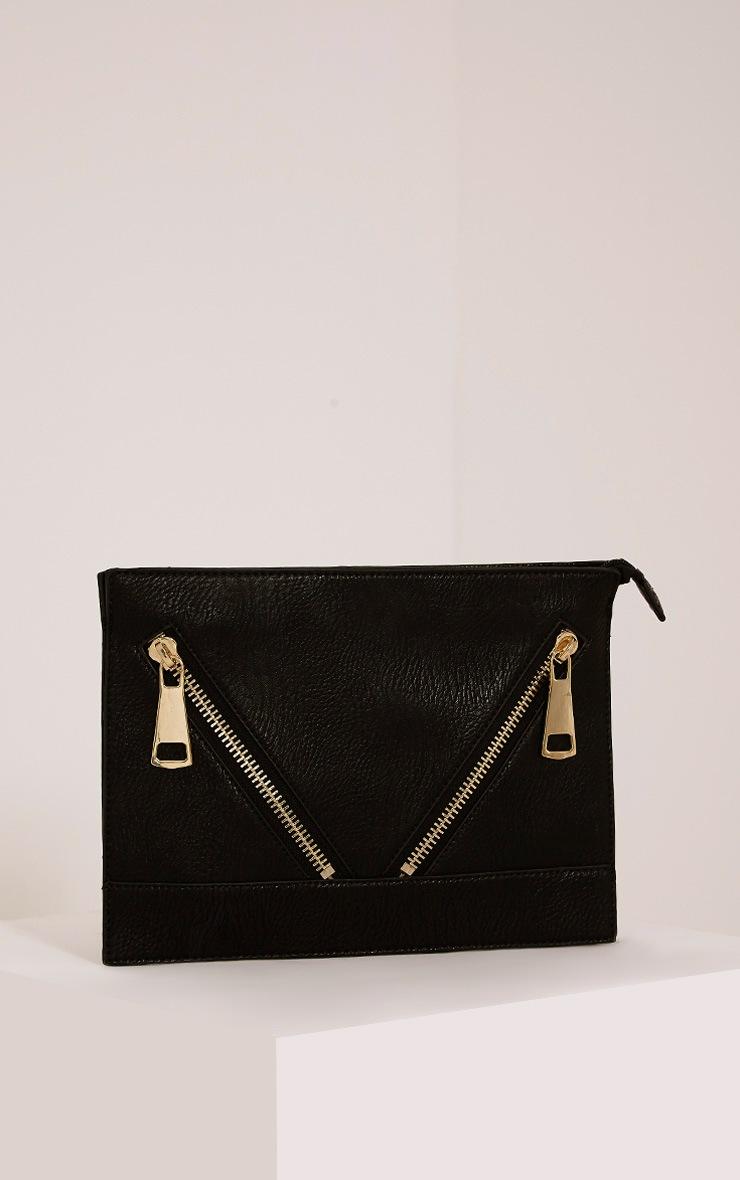 Tay Black Zip Detail Clutch Bag 1