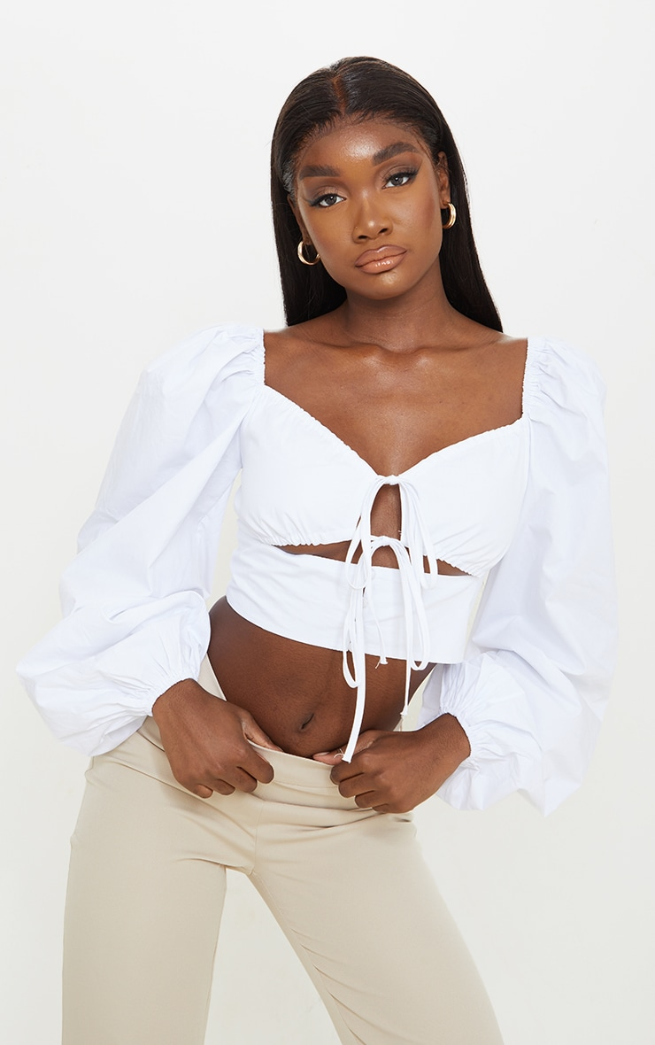 Tall White Cut Out Tie Front Bardot Cropped Blouse 1