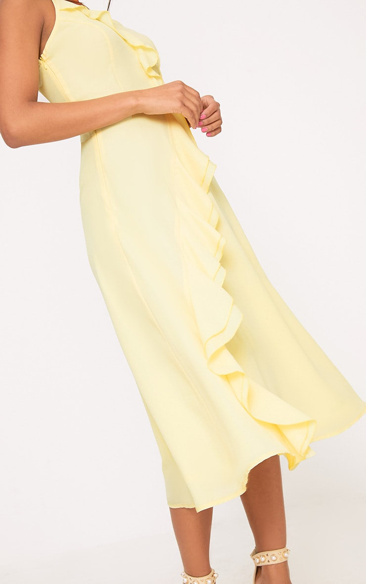 Dallia Lemon Ruffle Detail Midi Dress 5