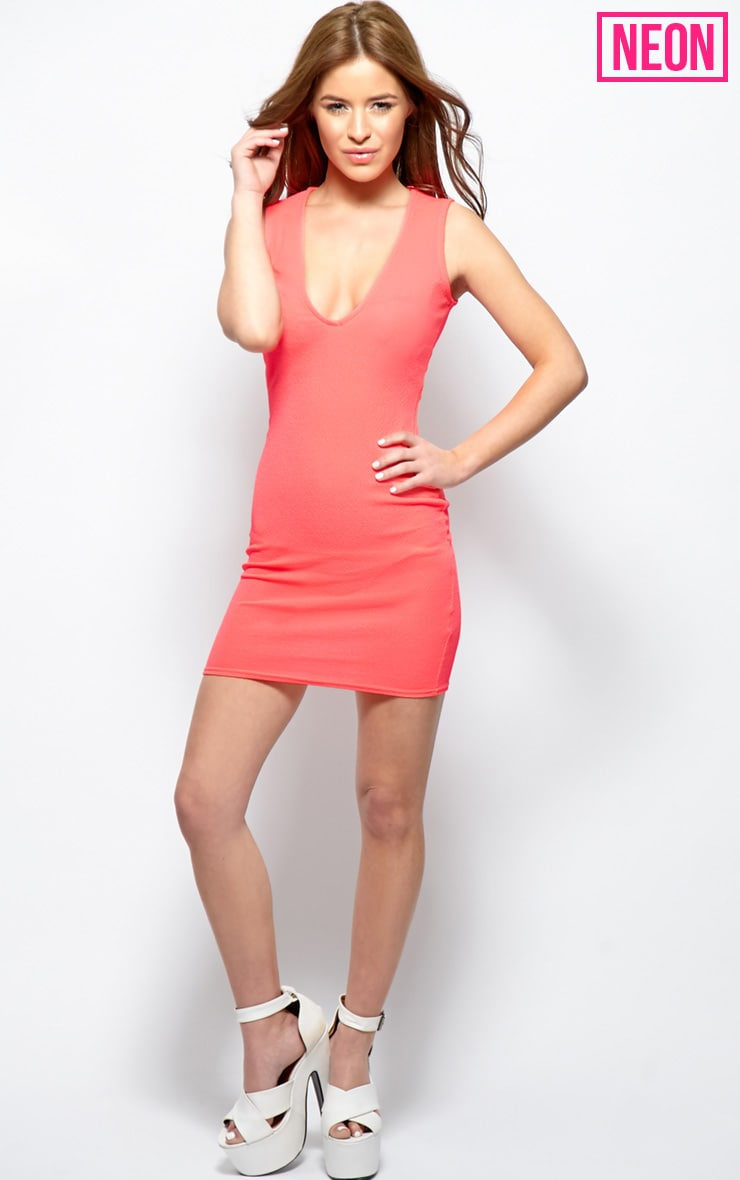 Brooke Pink Plunge V Neck Bodycon Dress 3