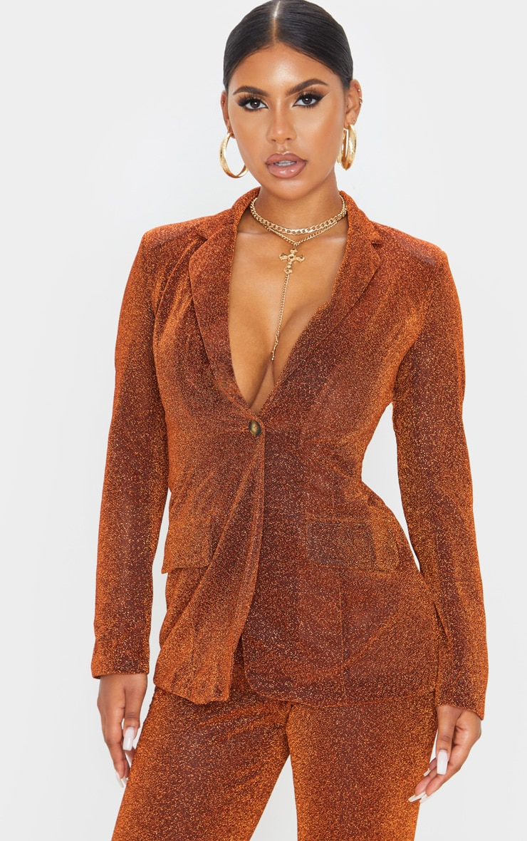 Rust Glitter Structured Suit Woven Blazer 1