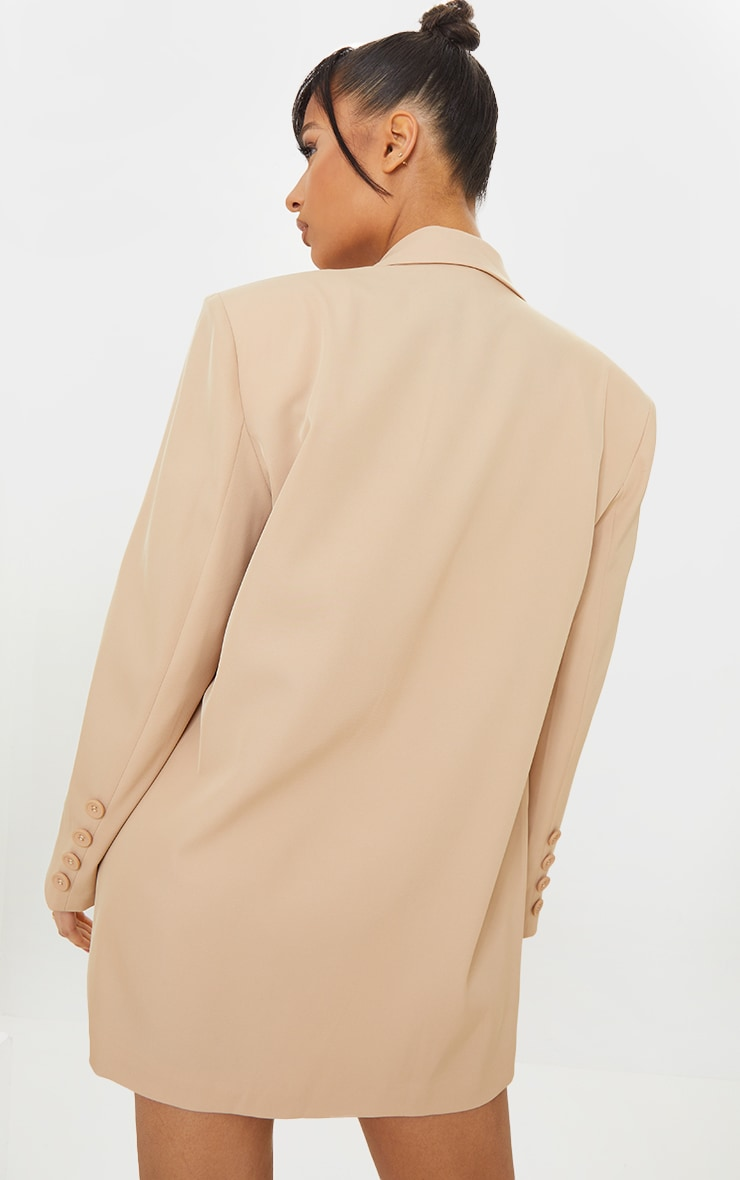 Stone Woven Triple Button Shoulder Padded Oversized Blazer 3