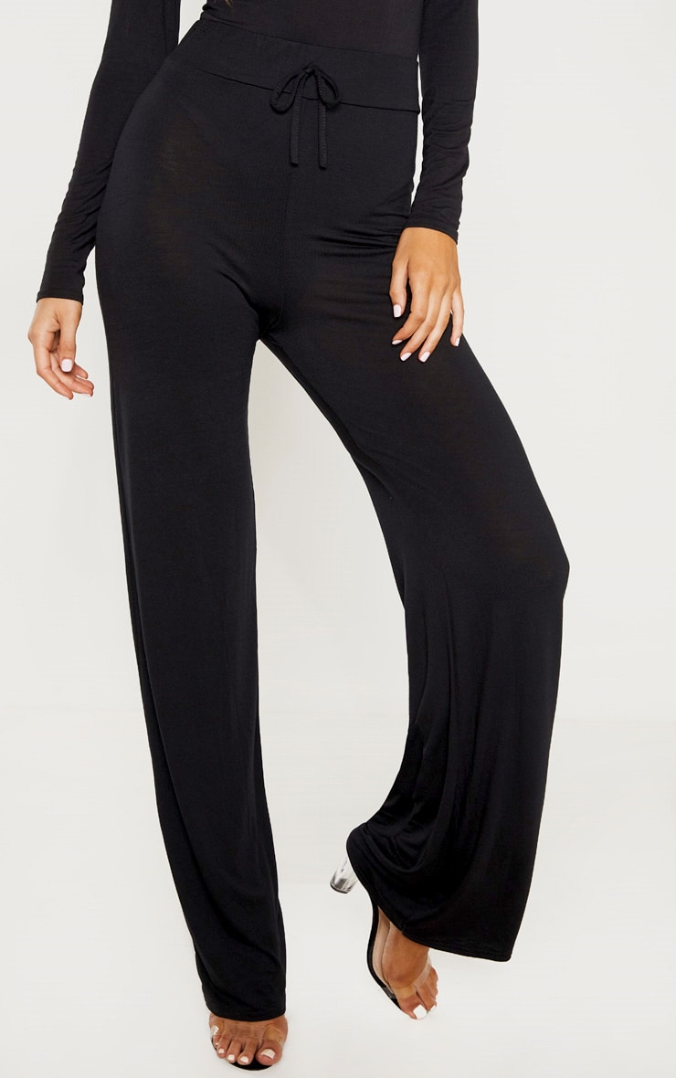 Tall Black Drawstring Jersey Wide Leg Jogger 2