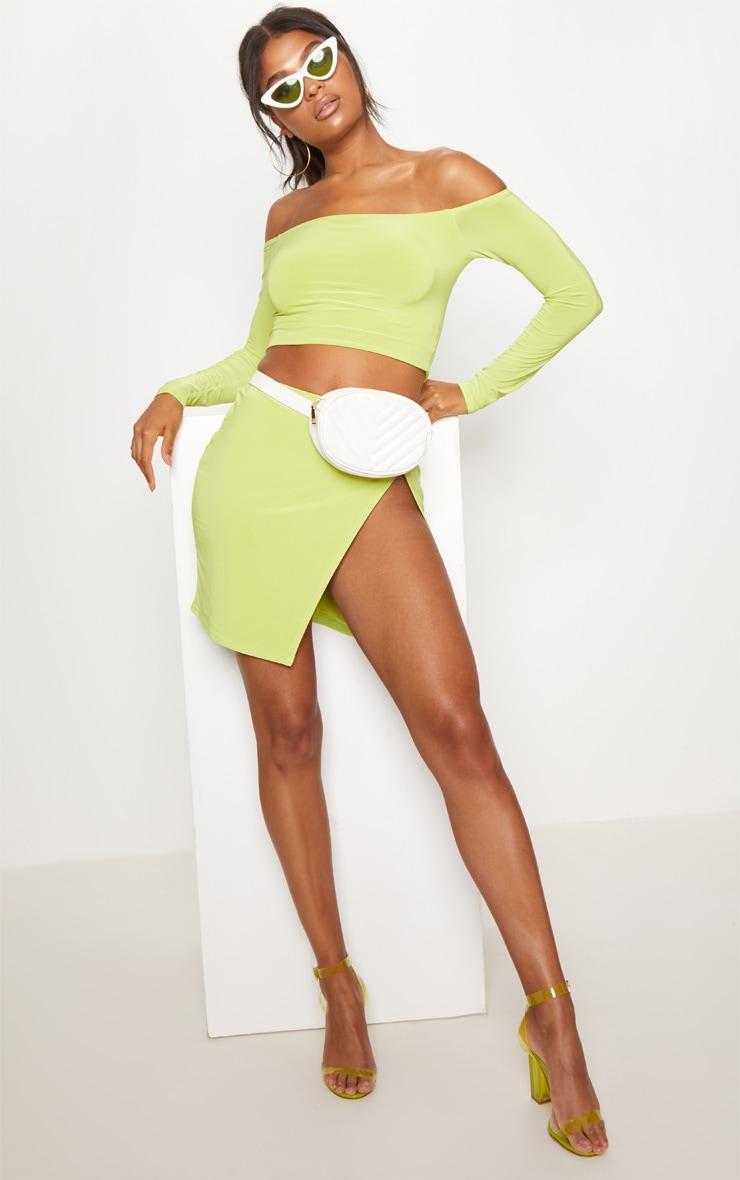 Lime Slinky Split Front Mini Skirt 5