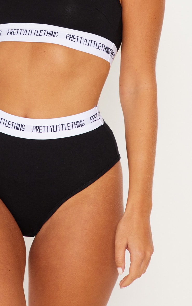 PRETTYLITTLETHING Black High Waisted Knickers 6