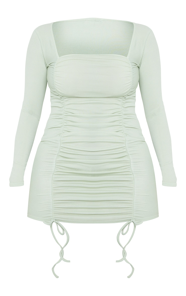 Shape Sage Green Square Neck Ruched Front Bodycon Dress 5