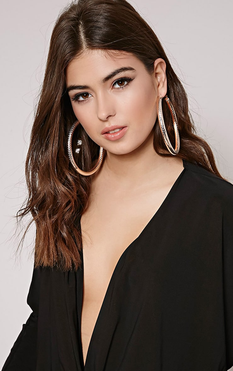 Shirrah Rose Gold Thick Hoops 2
