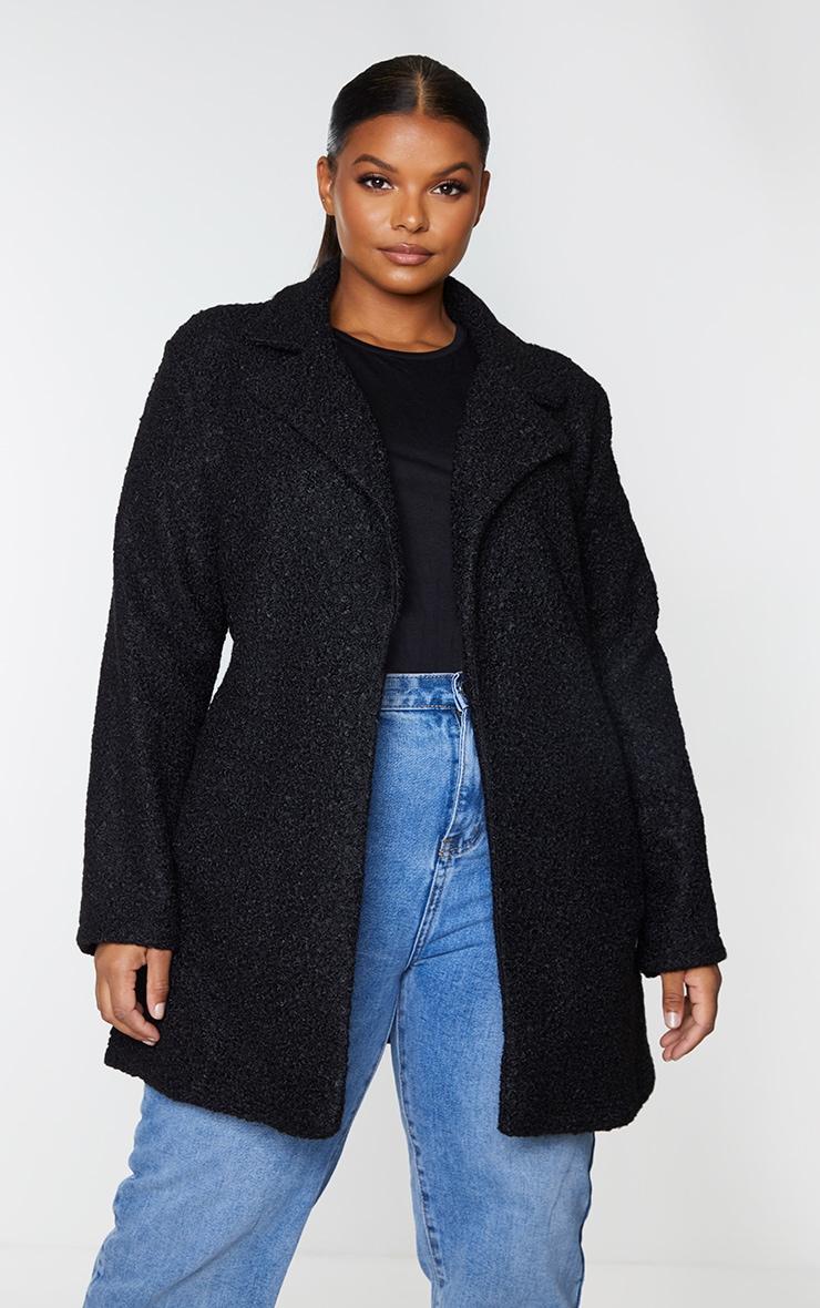 Plus Black Textured Longline Coat 1