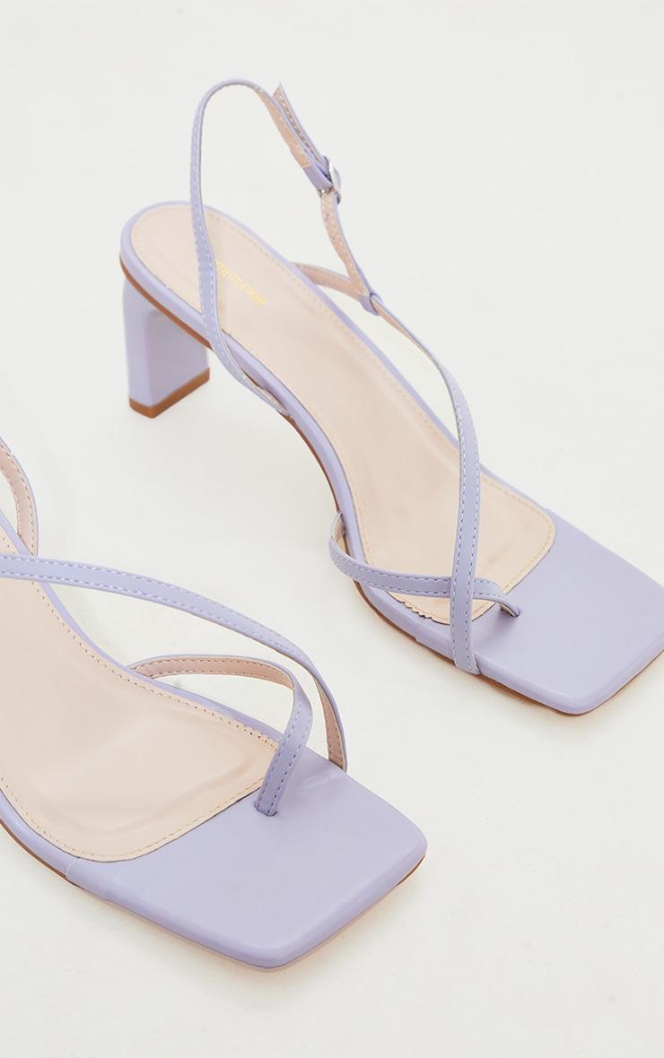 Lilac PU Cross Over Toe Loop Low Heeled Sandals 4