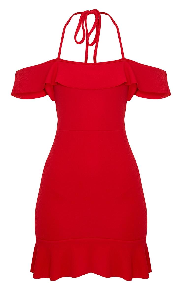 Jemena Red Frill Bardot Drop Hem Mini Dress 3