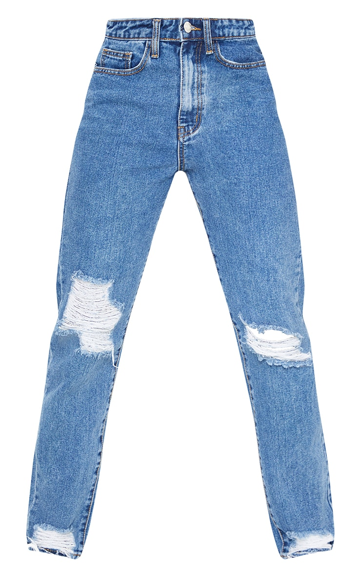PRETTYLITTLETHING Tall Mid Blue Wash Extreme Distressed Hem Knee Rip Mom Jeans 5