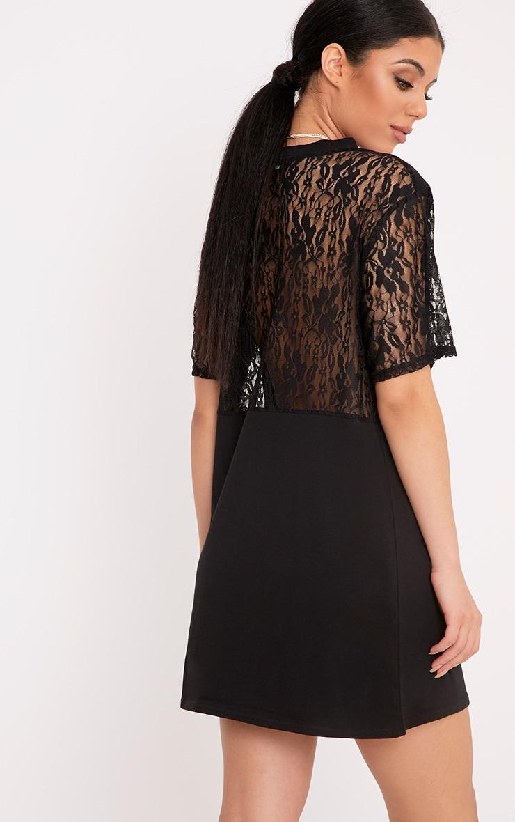Lightning Slogan Black Lace Detail T Shirt Dress 2