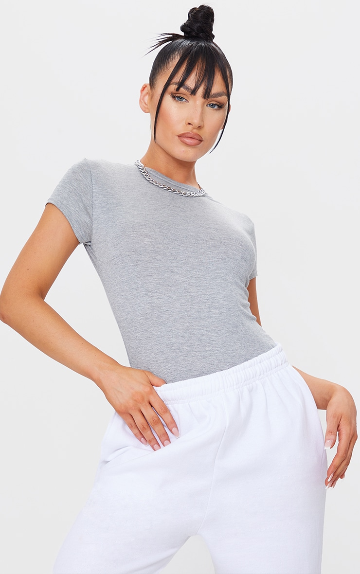 Basic Grey  Jersey Crew Neck T Shirt 1