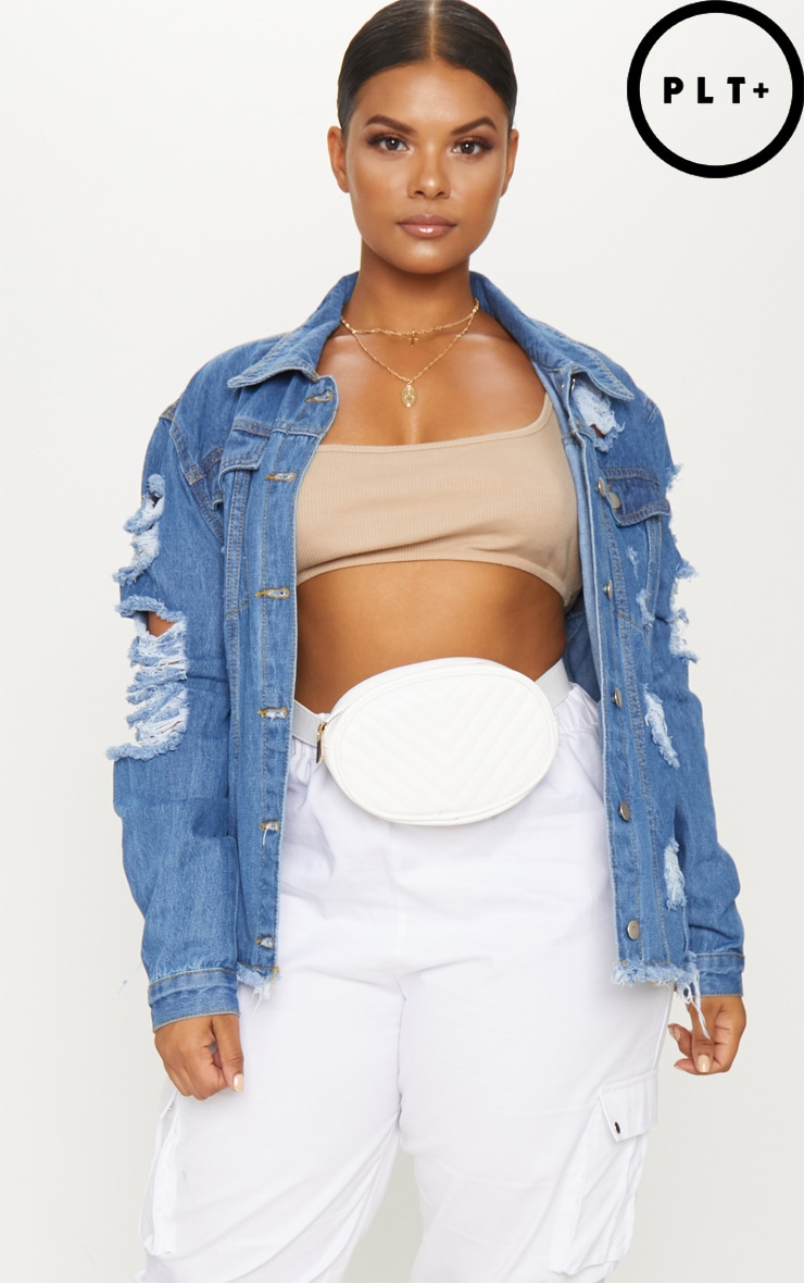 Plus Light Wash Distress Oversized Denim Jacket