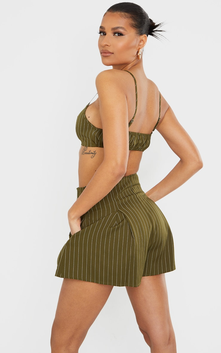 Olive Woven Pinstripe Ruched Tie Front Bralet 2
