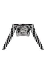 15c1cf96344 Black Stripe Lace Up Front Underbust Crop Top | PrettyLittleThing