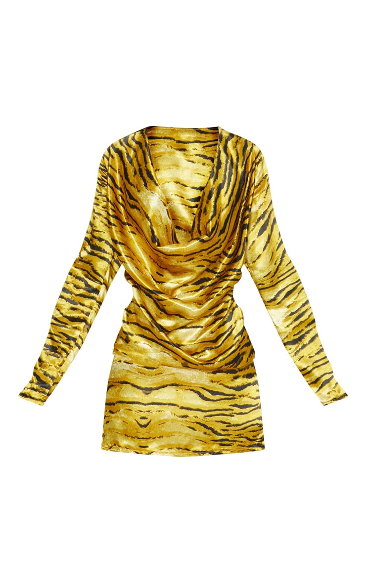Gold Tiger Print Cowl Bodycon Dress 3