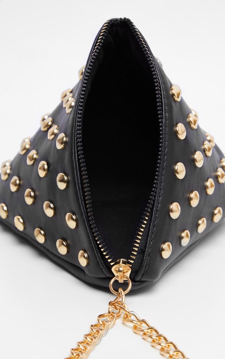 Black PU Studded Pyramid Grab Bag 3