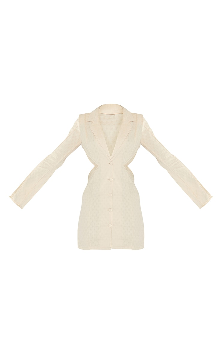 Tall  Stone Textured Shoulder Pad Cut Out Blazer Dress 5