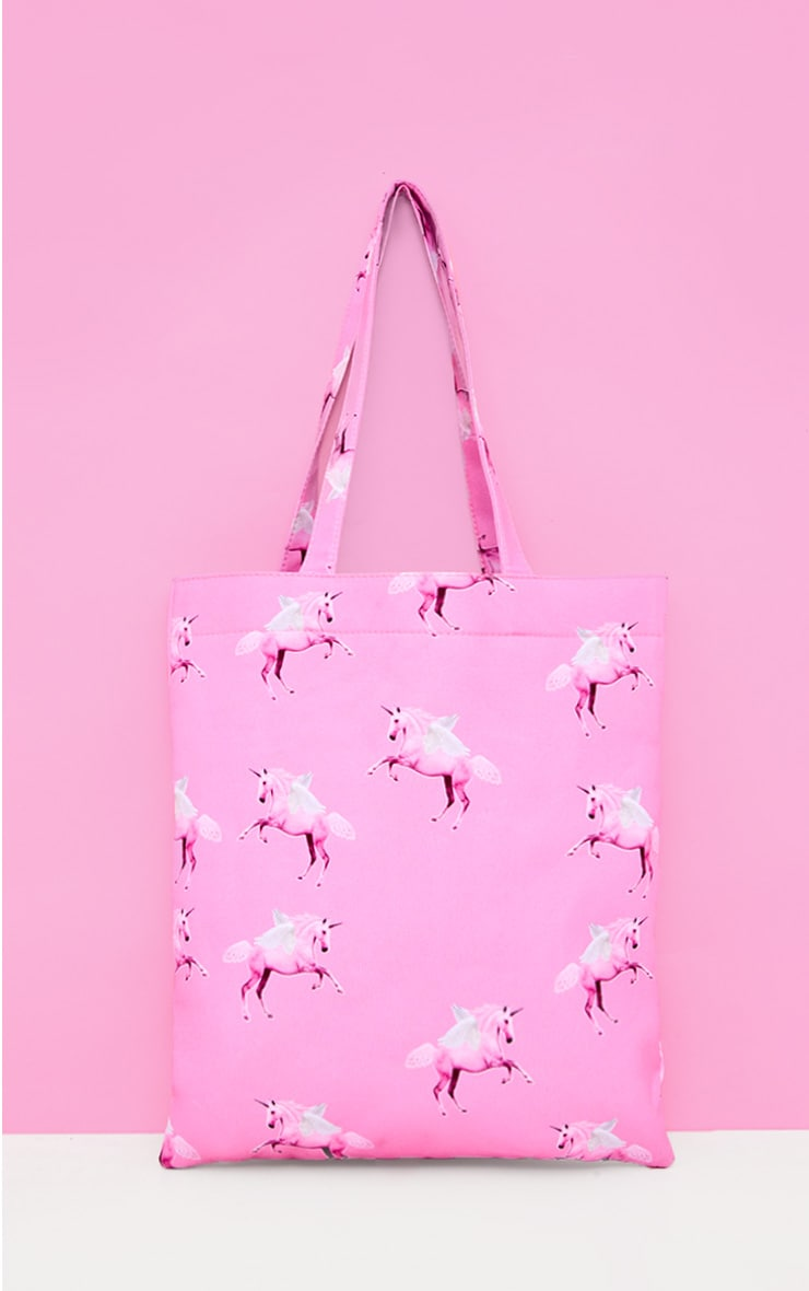 PRETTYLITTLETHING Unicorn Pink Canvas Tote 2