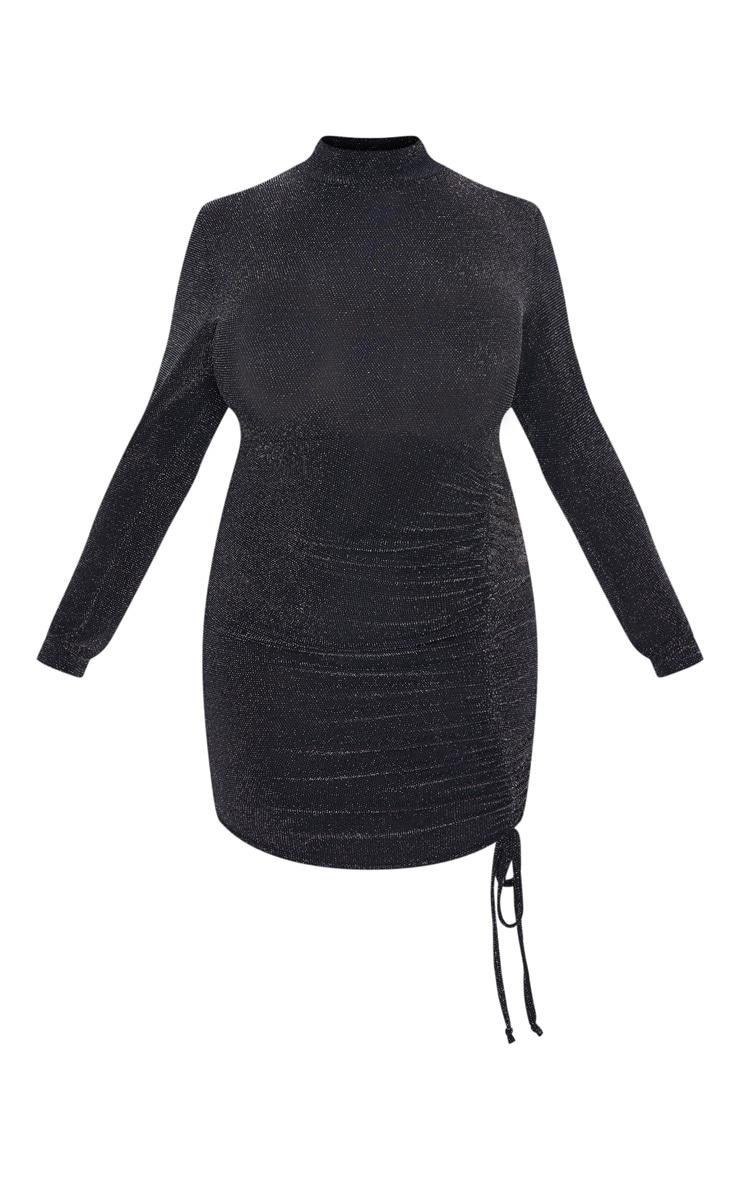 Plus Black Textured Glitter Ruching Detail High Neck Bodycon Dress 3