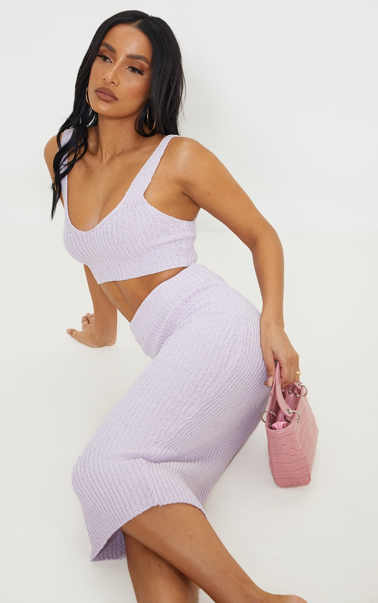 Lilac Tape Yarn Knitted Midi Skirt Set 4