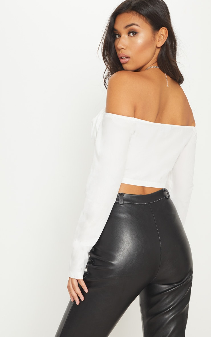 White Lace Up Cup Detail Bardot Crop Top 2