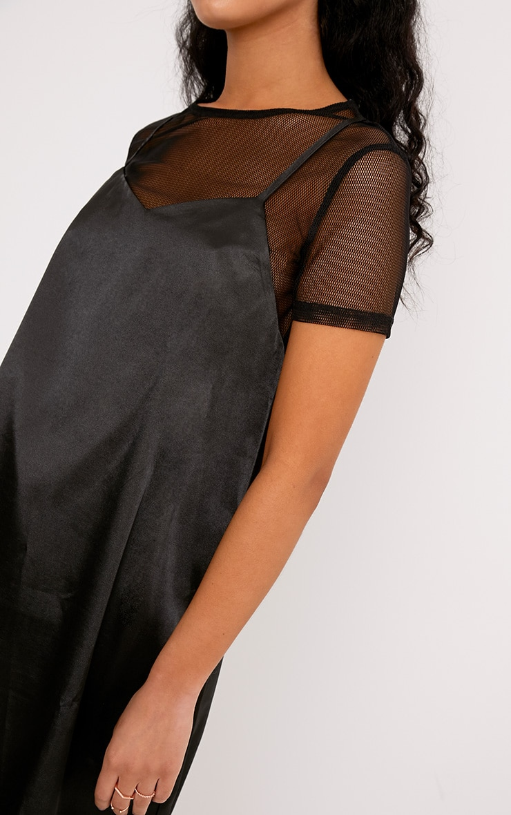 Miah Black Satin 2in1 Cami Dress 5