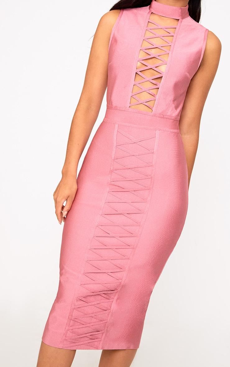 Rose Criss Cross Bandage Midi Dress 4